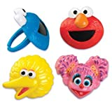 24 Sesame Street Cupcake Ring Toppers - Birthday Party Favors: Elmo, Big Bird, Cookie Monster, Abby