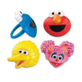 These adorable little rings come with Abby Cadabby, Elmo, Cookie Monster and Big Bird. Use to decorate cakes, cupcakes or as little party favors as these are little rings that children can wear..