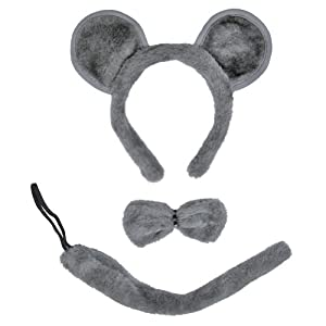 SeasonsTrading Gray Mouse Ears, Tail, & Bow Tie Costume Set ~ Halloween Costume Kit (STC12097)
