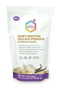 Body Basix Whey Protein Isolate Powder, Vanilla, 16-Ounce