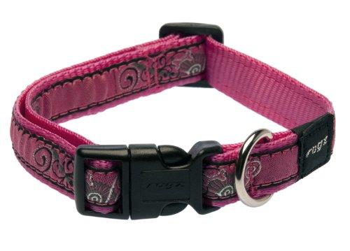 Rogz Fancy Dress Medium 5/8-Inch Scooter Dog Collar, Pink Bone Design