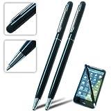 2xFirst2savvv black multi functional stylus pen for ALCATEL SCRIBE HD IDOL ULTRA M'POP S'POP X'POP T'POP ONE TOUCH 992D IDOL STAR SCRIBE EASY