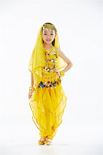 Dreamspell Children Dacing Set Belly Dance Yellow Costume(M Size)