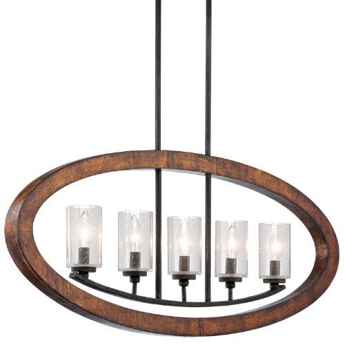 Kichler Lighting 43186AUB Grand Bank 5-Light Single Linear Chandelier Auburn Stained at Amazon.com