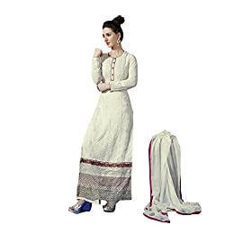 Party Wear Off White Colored Poly Georgette Suit