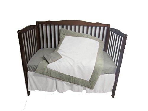 Baby Doll Zuma 4 Piece Crib Bedding Set, Grey/White