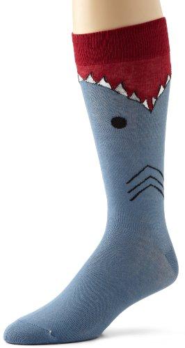 K. Bell Socks Men's Shark Sock, Slate Blue, 10-13