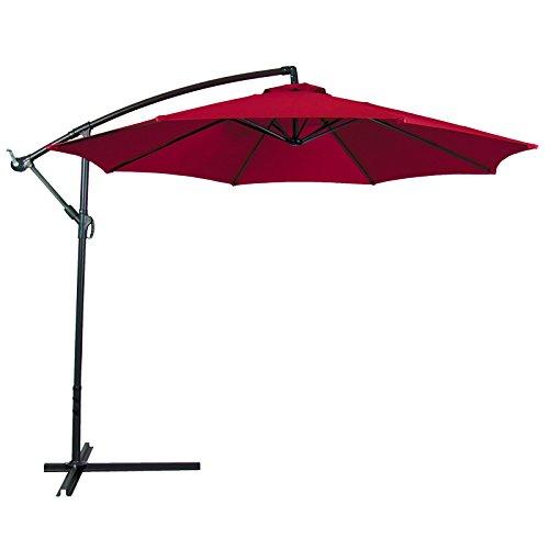 Patio Umbrella Offset 10' Hanging Umbrella Outdoor Market Umbrella New Burgundy (Ebay Canada Only compare prices)