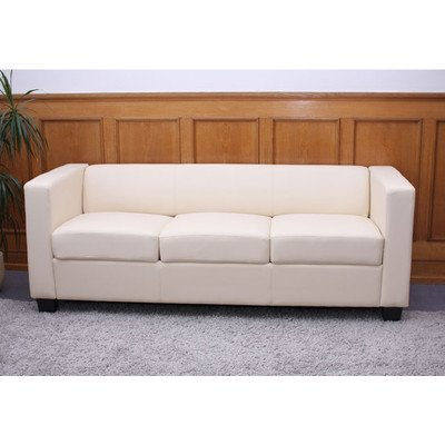 3er Sofa Couch Loungesofa Lille ~ Leder, creme