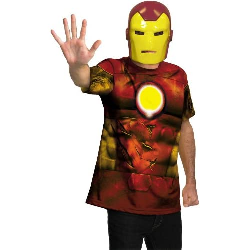 Lets Party By Disguise Inc Iron Man Shirt And Mask Adult Costume / Red   Size X Large (42 46)