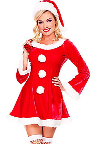 Dear-lover Women's Santa Costume Christmas Party 3 Piece Set with Sack Hat CST03