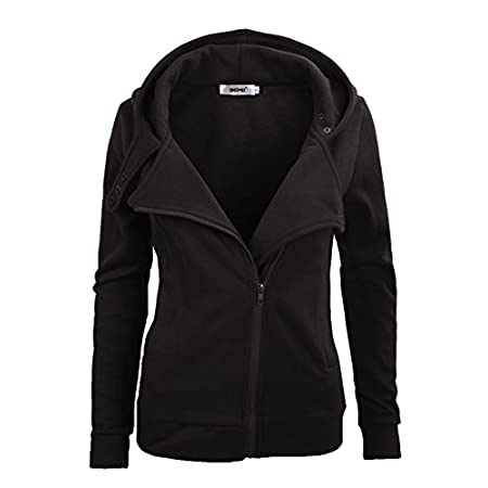 "Made by cotton and polyester. This stylish zipper hoodie, with 2 side pockets, is soft and comfortable. It will bring you modern style in cold weather. Size information: S: Bust: 38""; Sleeve: 24.5""; Length: 25""; Waist: 35.5"" M: Bust: 40"";..."