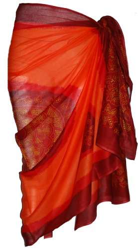 Orange Sarong with Bandana Design 100cm x 180cm