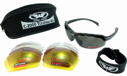 Shatterproof Cycling Glasses/Sunglasses Complete With Five Sets Of Interchangeable Lenses, Strap And Neoprene Storage Pouch