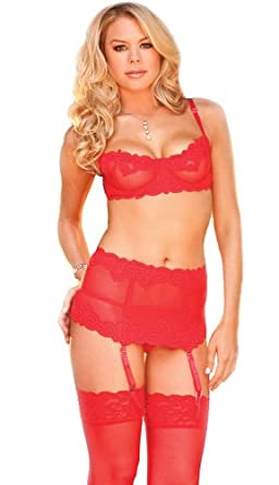 Plus Size Sexy Sheer Red Lingerie Set - 44