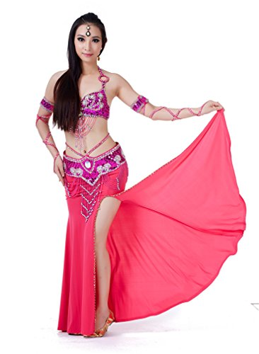 Belly Dance Suit Dreamspell® Exotic Festival 3pcs Professional Dancing Suit Rose Red Costumes