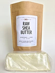 100% Raw Unrefined Organic Shea Butter - Best Organic African Grade A Ivory - Pure and Natural for Use on Skin and Hair - Rich in Vitamins A & E - Use on Acne Eczema Stretch Marks Rashes - Great for Soap and Lotion Recipes - 1LB (16oz)