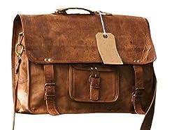 Phoenix Craft Vintage Genuine Leather Laptop Briefcase messenger satchel bag 18x3x6 Inches Brown ...