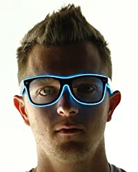 Jebsens Light Up El Wire Sunglasses Black Frame With Clear Lens (Blue)
