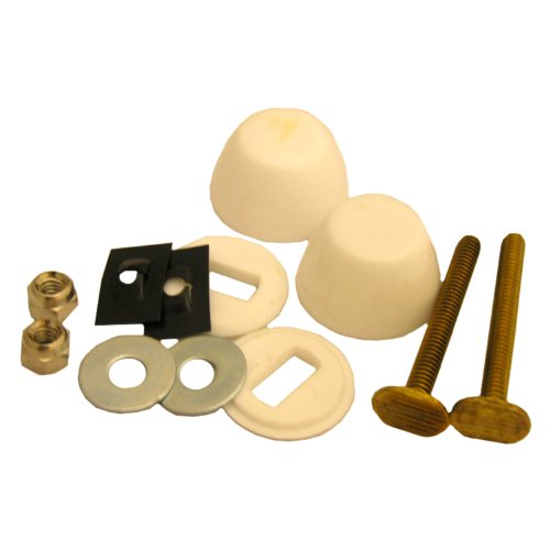 Lasco 04-3639 Solid Brass 1/4-Inch by 2-1/4-Inch Approved with 1/4-Inch Acorn Nuts, Stainless Steel Washers and Round Bolt Cover Caps Toilet Bolts