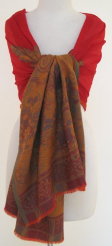 Classic Border Paisley Wool Stole Scarf Wrap Shawl Red Rust