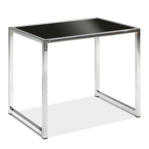 Cheap Yield End Table, Chrome and Black Glass (YLD09)