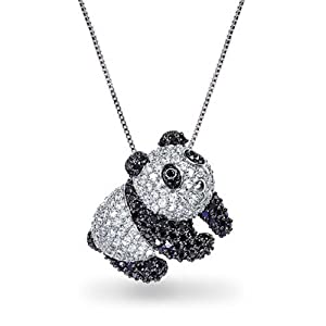 Bling Jewelry Clear Black Simulated Onyx CZ Panda Bear Pendant Necklace 18in Rhodium Plated