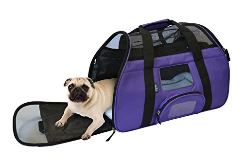 KritterWorld Portable Comfort Soft Sided Airline Approved Pet Travel Carrier Bag for Dog/Cat Small Animals Tote w/ Built-in Collar Buckle & Removable Fleece Bed – Purple