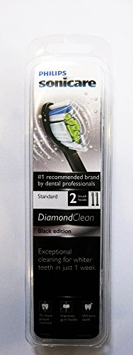 Philips Sonicare Diamond Clean Black Standard Brushheads, Hx6062/22