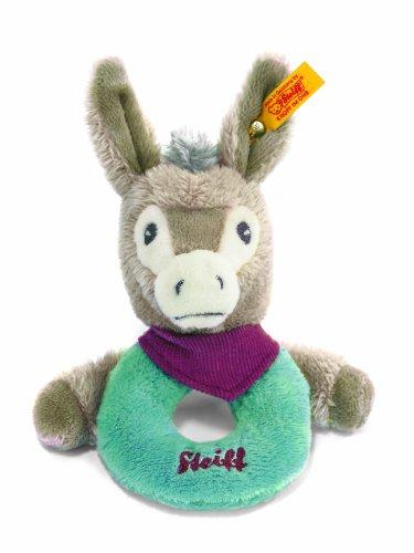 Steiff Issy Donkey Grip Toy Plush, Taupe Grey/Petroleum Blue/Blackberry