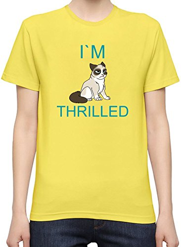 Grumpy Cat I'm Thrilled Funny Slogan T-Shirt per Donne XX-Large