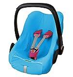 ByBoom® - Funda de verano / funda hecha de tela de toalla, funda universal para portabebés (Moisés), asiento de coche, por ejemplo, Maxi-Cosi CabrioFix, Pebble, City SPS, Color:Azul