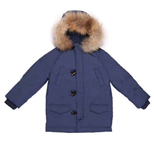 Oceankids Parka imbottito in memory foam e piuma d'oca da bambino con cappuccio con bordo in pelliccia 5-6 Anni
