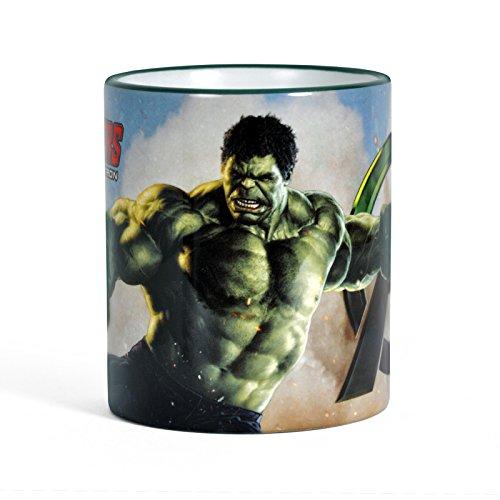Avengers - Tazza con motivo di Hulk - Stampa circolare, manico e bordo colorati - Licenza ufficiale - 300 ml