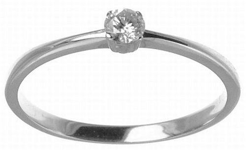 9ct White Gold Diamond Engagement Ring With Round Brilliant Diamond Solitaire, 0.15 carat Diamond Weight
