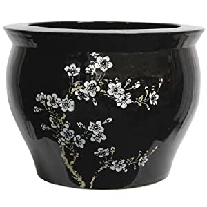 """Classic Japanese Chinese Asian Ceramic Planter - 14"""" Plum Blossoms on Black Porcelain Pottery Fishbowl Jardiniere"""
