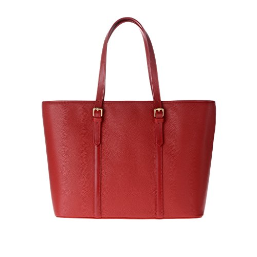 Borsa donna shopping bag Made in Italy in vera pelle dollaro a spalla con manici DUDU Rosso lacca