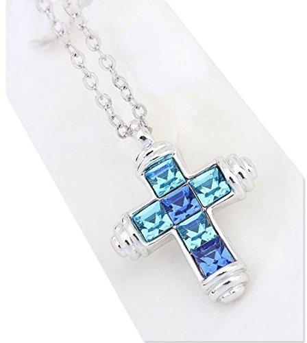 Lorelys cadeau pour femme ou enfant collier pendentif croix religieuse porte bonheur serti de - Bijoux porte bonheur pour femme ...