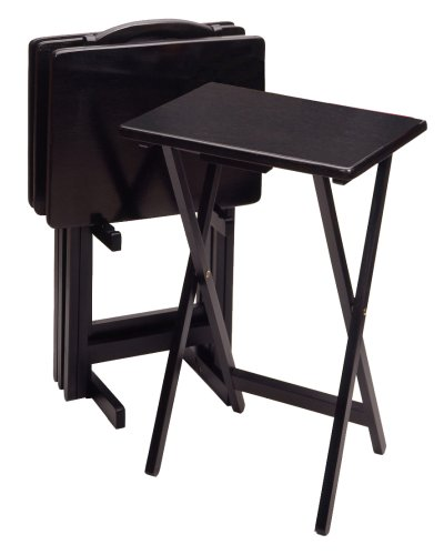 Winsome Wood 5-Piece TV Table Set, Black (Upright Tv Stand compare prices)