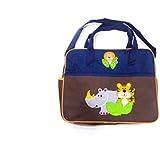 Brown Blue Diaper Bag With Tiger Print