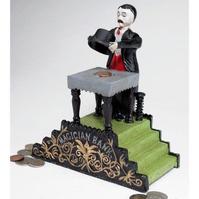 Design Toscano SP128 Maitland the Magician Authentic Foundry Iron Mechanical Bank