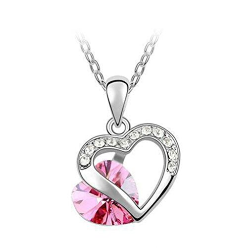 Next-Fri Fashion Style Gilr Austrian Crystal Pendant Necklace Soulmate Jewelry(Pink) (Tiny Mates Football compare prices)