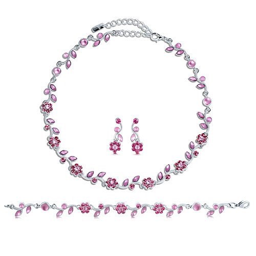 Silver Tone Pink Crystal Accent 3-Piece Necklace Earrings Bracelet Set