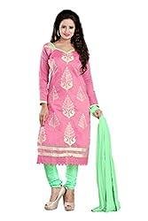 Parinaaz Fashion pink Chandari Straight unstitched salwar suit