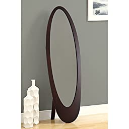 Cappuccino Contemporary Oval Cheval Mirror, Frame Material: Wood, Assembly Required