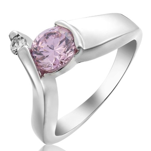 Rizilia Engagement! Pink Sapphire White 18K Gold Plated Ring Lady Jewelry Size 6/M