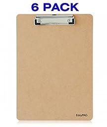EasyPAG 6 Pack Letter Size Clipboard Low Profile Hardboard
