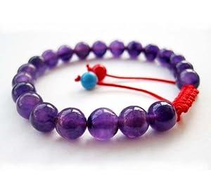 8mm Purple Jade Stone Beads Tibetan Buddhist Mala Bracelet for Meditation