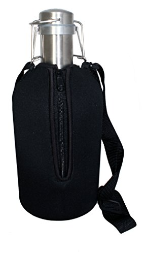 Craft Connections Beer Growler 64 oz Stainless Steel with Swing Top Lid & Neoprene Insulated Jacket Carrier Bag