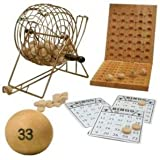 Da Vinci Deluxe 7 Inch Diameter Metal Frame Cage Bingo Set with Wood Balls & Wood Board